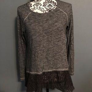 Hem & Thread Long Sleeve Top Illusion Blouse Hem